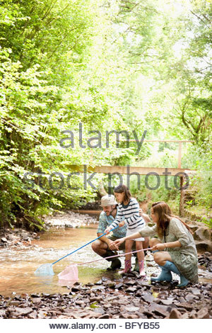 Family playing with nets in stream - Stock Photo