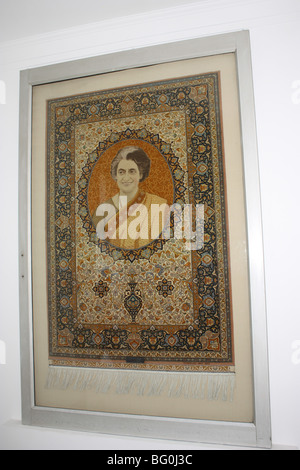 photo of indira gandhi - former prime minister of india embedded in a cloth textile - Stock Photo