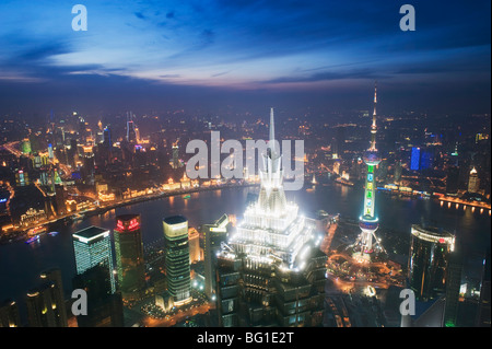 Jinmao and Pearl Towers and Pudong skyline, Shanghai, China, Asia - Stockfoto