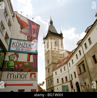 World Travel. New Town Hall in Nove Mesto in the ancient city of Prague in the Czech Republic in Eastern Europe. - Stock Photo