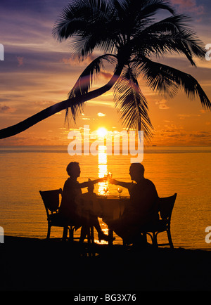 Couple having dinner at the beach, toasting glasses, Maldives, Indian Ocean, Asia - Stock Photo