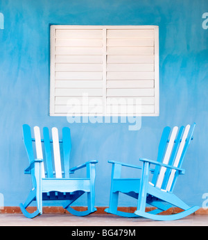 Traditional rocking chairs in Vinales, Cuba, Caribbean - Stock Photo