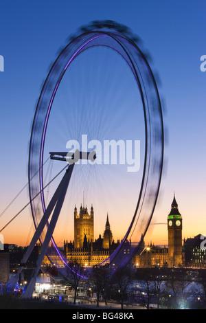 Millennium Wheel (London Eye) and Big Ben, Houses of Parliament, London, England, UK - Stock Photo