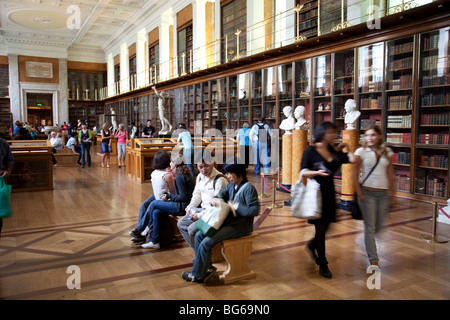 The British Museum, London. The long, book lined, Enlightenment room. A study / library. - Stock Photo