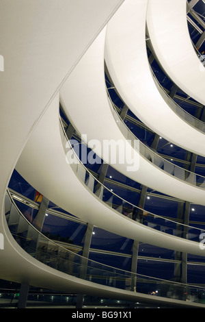 Berlin. Germany. The Reichstag dome interior at night, by architect Sir Norman Foster. - Stock Photo
