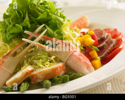Crab seared tuna seafood salad with asparagus - Stock Photo