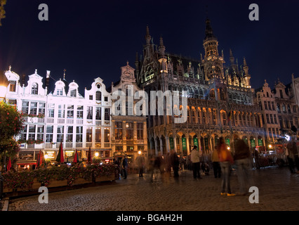 Grand Place Square, Brussels, Belgium with Guide Hall Building - Stock Photo