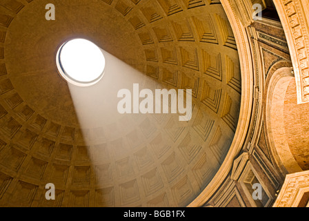 Rome, Italy. Interior of the Pantheon at the Piazza della Rotonda the Oculus the coffered ceiling. - Stock Photo