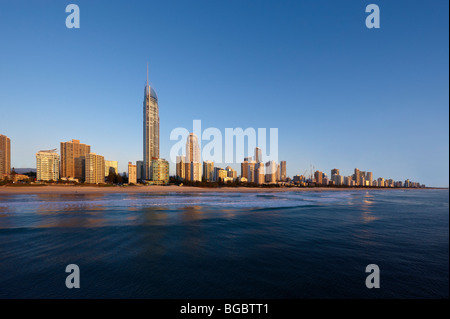 Surfers Paradise Gold Coast Australia  (low aerial view from a helicopter at first light) - Stock Photo