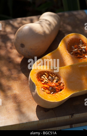 Butternut squash cut to reveal it's seeds - Stock Photo