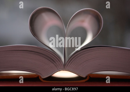 Book pages, heart-shaped - Stock Photo