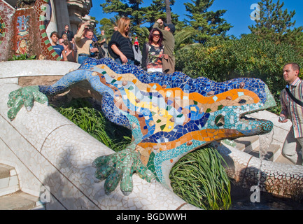 Spain: Antoni Gaudi's mosaic dragon fountain at entrance of Parc Guell in Barcelona - Stock Photo