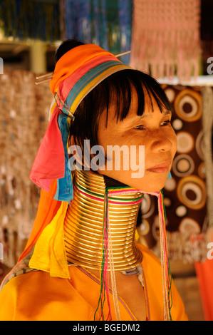 Thailand; Mae Hong Son; Nai Soi;  Portrait of a 'Long Necked' woman of the Karen Tribe - Stock Photo