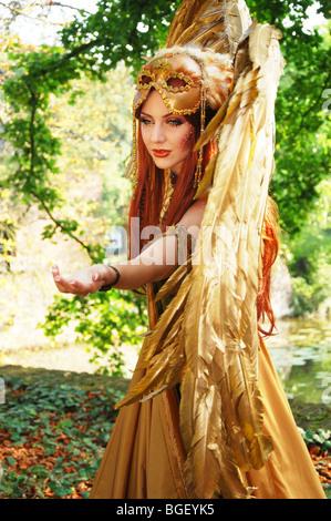 angelic character posing at fantasy Fair Netherlands - Stock Photo