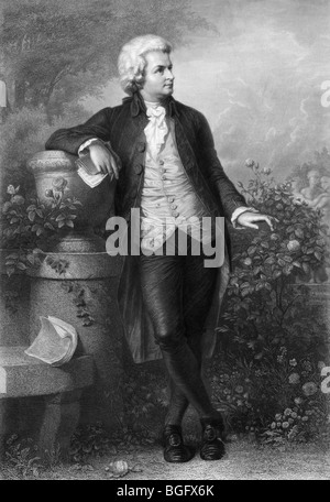 Undated 19th century portrait engraving of prolific and influential Austrian composer Wolfgang Amadeus Mozart (1756 - Stock Photo