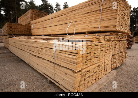 Wood and fencing supplies - Timber Merchant UK - Stock Photo