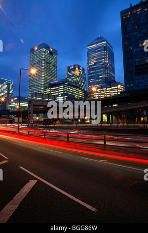 Canary Wharf Tower, HSBC Building and Citi Building seen from Aspen Way, Poplar - Stock Photo
