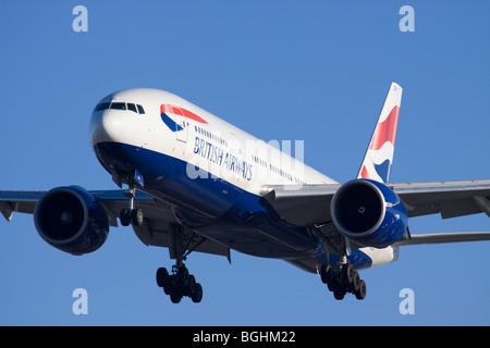 G-ZZZA British Airways Boeing 777-200 landing at London Heathrow - Stock Photo