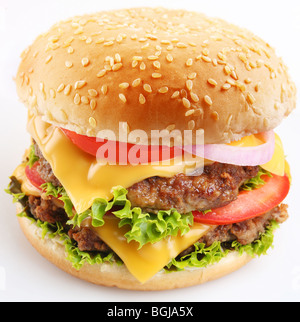Cheeseburger on a white background - Stock Photo