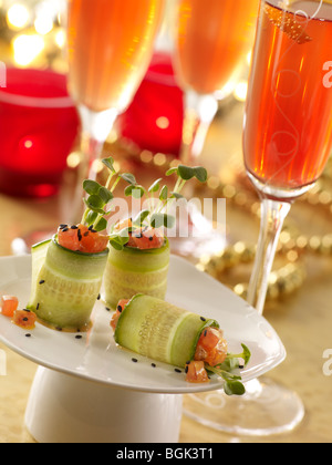 Ahi tuna cucumber rolls with pomegranate prosecco - Stock Photo