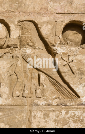 Close up of Horus and ankh in second court at Medinet Habu , Mortuary Temple of Ramesses III, West bank of Nile, - Stock Photo