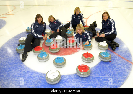 Members of the Team GB womens Curling team for the winter Olympics in Vancouver. - Stock Photo