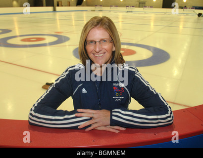 Members of the Team GB womens Curling team for the winter Olympics in Vancouver. Pictured Nancy Murdoch Coach - Stock Photo