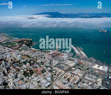 aerial view above Columbus Avenue aquatic park North Beach neighborhood San Francisco California - Stock Photo