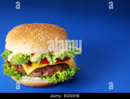 Cheeseburger on a blue background - Stock Photo
