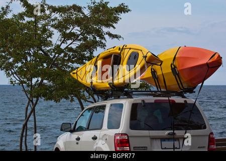 American summer lake shore in Michigan focus USA United States Lake Superior Great Lakes - Stock Photo