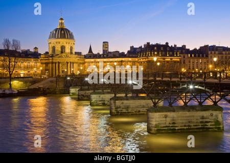 PONT DES ARTS AT NIGHT, PARIS - Stock Photo