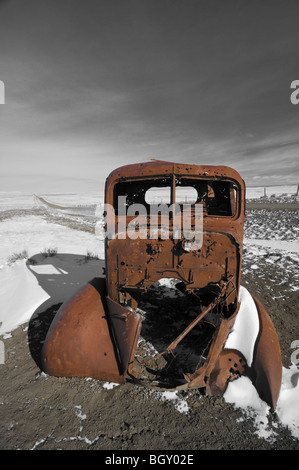 Old abandoned truck on a back road-Montana USA - Stock Photo