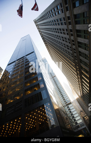High rise office buildings side by side, low angle view - Stock Photo