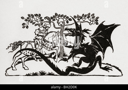 George and the Dragon. From the book English Fairy Tales retold by F.A. Steel - Stock Photo