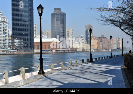View of Upper East Side, East River, from Roosevelt Island, New York City, NY, USA - Stock Photo