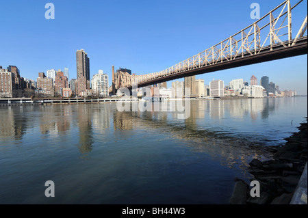 Queensboro (59th Street) Bridge, East River and East Side, New York City, NY, USA - Stock Photo