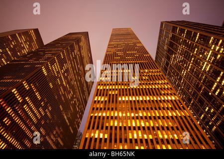 USA, New York City, Manhattan, skyscrapers along Sixth Avenue - Stock Photo
