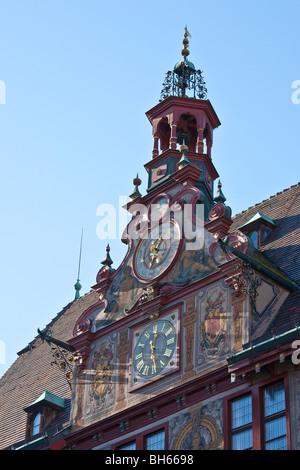 ASTRONOMIC CLOCK , CITY HALL, TUEBINGEN, BADEN WUERTTEMBERG, GERMANY - Stock Photo