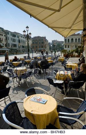 Open air cafe, Campo Santo Stefano (Campo Francesco Morosini), San Marco, Venice, Italy - Stock Photo