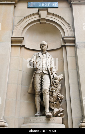 A statue of Australian explorer Allan Cunningham on the exterior of the Department of Lands on Bent Street in Sydney, - Stock Photo