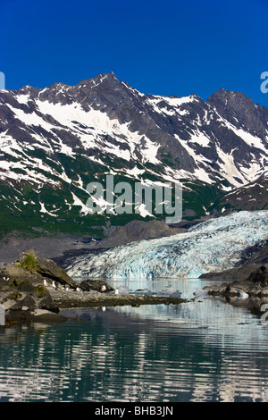Shoup Glacier reflected in the waters of Shoup Bay, Shoup Bay State Marine Park, Prince William Sound, Southcentral - Stock Photo