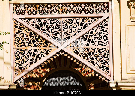 Detail of wrought iron on a terrace house located in the suburb of Carlton / Melbourne Victoria Australia. - Stock Photo