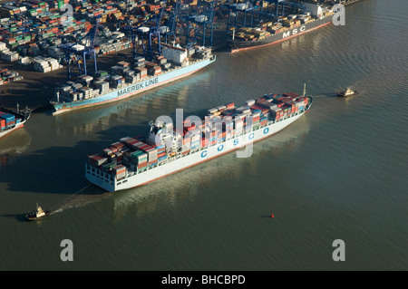 The Cosco Taicang arriving at the Port of Felixstowe UK - Stock Photo