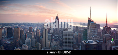 Elevated view of the Empire state building viewed at sunset - Stock Photo