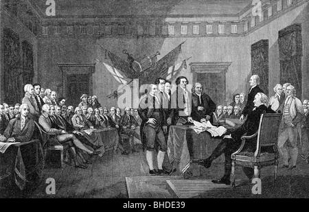 geography / travel, politics, American Revolutionary War 1775 - 1783, signing the Declaration of Independence, Philadelphia, - Stock Photo