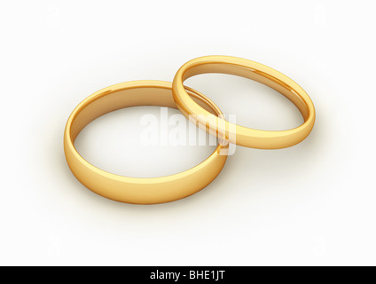 2 golden rings, symbol for marriage / fusion - 2 goldene Ringe, Symbol für Fusion / Heirat - Stockfoto