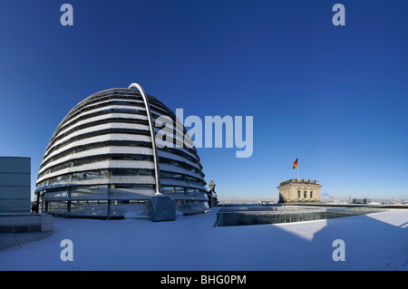 Reichstag dome in winter, Berlin, Germany - Stock Photo