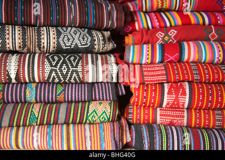 Traditional tais cloth in market in dili east timor - Stock Photo