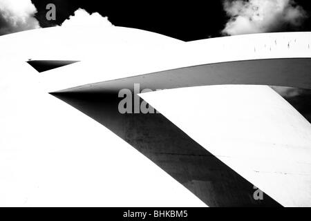 Detail in hi contrast of the National Museum of Brazil in Brasilia - Stock Photo