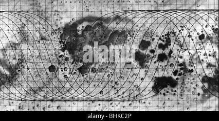 astronomy, moon, Soviet moon surface map (far side), 1960 ...